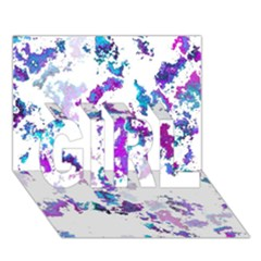 Splatter White Lilac GIRL 3D Greeting Card (7x5)