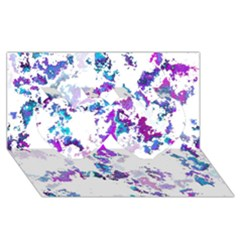 Splatter White Lilac Twin Hearts 3d Greeting Card (8x4)