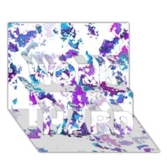 Splatter White Lilac WORK HARD 3D Greeting Card (7x5)