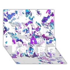 Splatter White Lilac Take Care 3d Greeting Card (7x5)