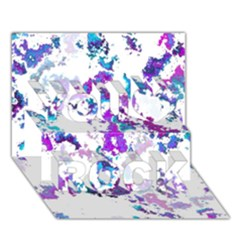 Splatter White Lilac You Rock 3d Greeting Card (7x5)