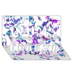 Splatter White Lilac Laugh Live Love 3d Greeting Card (8x4)