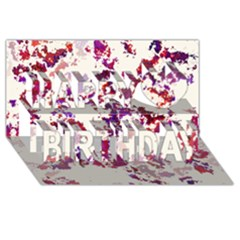 Splatter White Happy Birthday 3D Greeting Card (8x4)