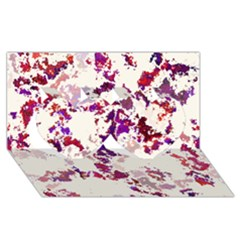 Splatter White Twin Hearts 3D Greeting Card (8x4)