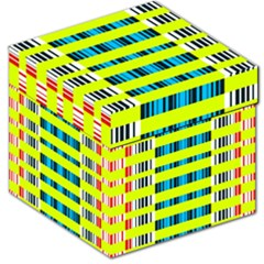 Rectangles and vertical stripes pattern Storage Stool