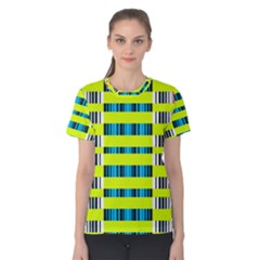 Rectangles and vertical stripes pattern Women s Cotton Tee