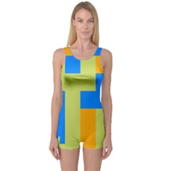 Tetris shapes Women s Boyleg One Piece Swimsuit