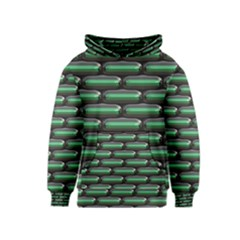 Green 3d Rectangles Pattern Kid s Pullover Hoodie