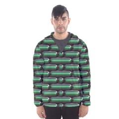 Green 3d Rectangles Pattern Mesh Lined Wind Breaker (men)