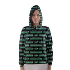 Green 3D rectangles pattern Hooded Wind Breaker (Women)