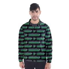 Green 3D rectangles pattern Wind Breaker (Men)