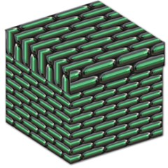 Green 3D rectangles pattern Storage Stool