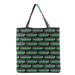 Green 3D rectangles pattern Grocery Tote Bag