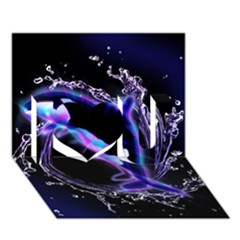 Orca With Glowing Line Jumping Out Of A Circle Mad Of Water I Love You 3d Greeting Card (7x5)