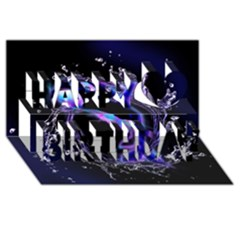 Orca With Glowing Line Jumping Out Of A Circle Mad Of Water Happy Birthday 3D Greeting Card (8x4)