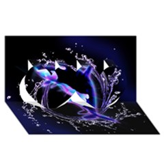 Orca With Glowing Line Jumping Out Of A Circle Mad Of Water Twin Hearts 3D Greeting Card (8x4)