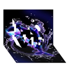 Orca With Glowing Line Jumping Out Of A Circle Mad Of Water Love 3d Greeting Card (7x5)