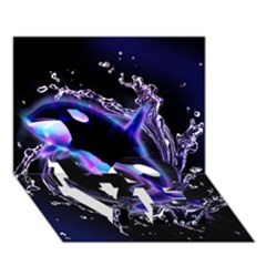 Orca With Glowing Line Jumping Out Of A Circle Mad Of Water LOVE Bottom 3D Greeting Card (7x5)