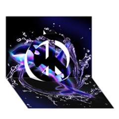 Orca With Glowing Line Jumping Out Of A Circle Mad Of Water Peace Sign 3d Greeting Card (7x5)