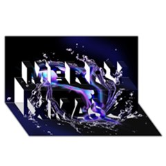Orca With Glowing Line Jumping Out Of A Circle Mad Of Water Merry Xmas 3D Greeting Card (8x4)