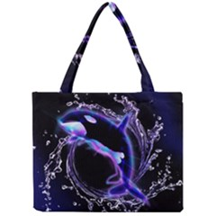 Orca With Glowing Line Jumping Out Of A Circle Mad Of Water Tiny Tote Bags