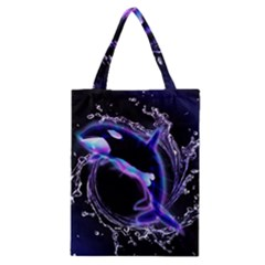 Orca With Glowing Line Jumping Out Of A Circle Mad Of Water Classic Tote Bags