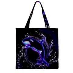 Orca With Glowing Line Jumping Out Of A Circle Mad Of Water Zipper Grocery Tote Bags