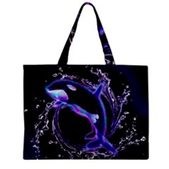 Orca With Glowing Line Jumping Out Of A Circle Mad Of Water Zipper Tiny Tote Bags