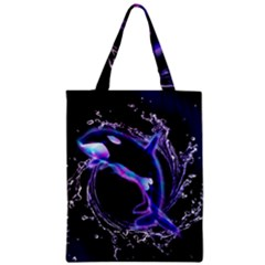 Orca With Glowing Line Jumping Out Of A Circle Mad Of Water Zipper Classic Tote Bags