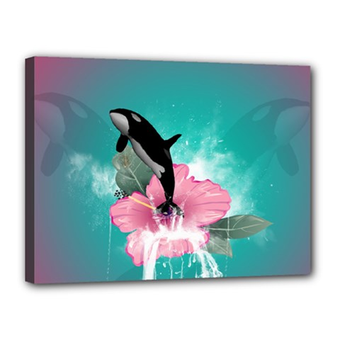 Orca Jumping Out Of A Flower With Waterfalls Canvas 16  x 12