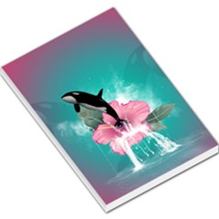 Orca Jumping Out Of A Flower With Waterfalls Large Memo Pads