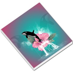 Orca Jumping Out Of A Flower With Waterfalls Small Memo Pads