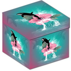 Orca Jumping Out Of A Flower With Waterfalls Storage Stool 12