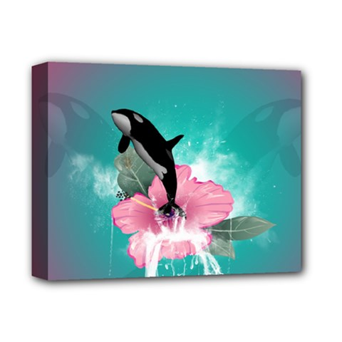 Orca Jumping Out Of A Flower With Waterfalls Deluxe Canvas 14  x 11