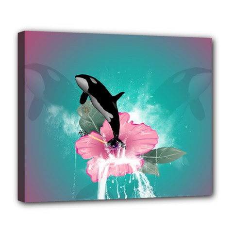 Orca Jumping Out Of A Flower With Waterfalls Deluxe Canvas 24  x 20