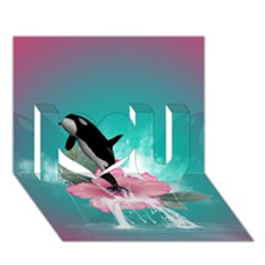 Orca Jumping Out Of A Flower With Waterfalls I Love You 3d Greeting Card (7x5)
