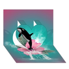 Orca Jumping Out Of A Flower With Waterfalls Heart 3D Greeting Card (7x5)