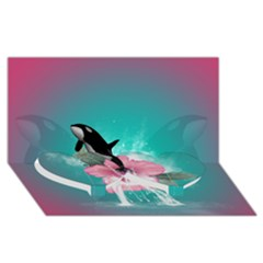 Orca Jumping Out Of A Flower With Waterfalls Twin Heart Bottom 3D Greeting Card (8x4)