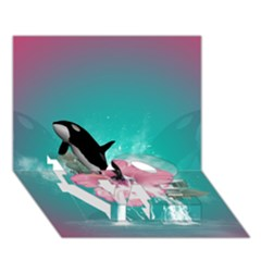 Orca Jumping Out Of A Flower With Waterfalls LOVE Bottom 3D Greeting Card (7x5)