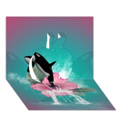 Orca Jumping Out Of A Flower With Waterfalls Apple 3D Greeting Card (7x5)