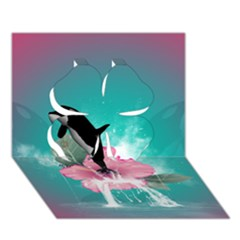 Orca Jumping Out Of A Flower With Waterfalls Clover 3D Greeting Card (7x5)