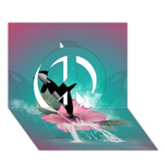 Orca Jumping Out Of A Flower With Waterfalls Peace Sign 3d Greeting Card (7x5)