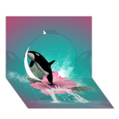 Orca Jumping Out Of A Flower With Waterfalls Circle 3D Greeting Card (7x5)