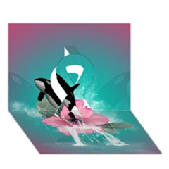 Orca Jumping Out Of A Flower With Waterfalls Ribbon 3d Greeting Card (7x5)