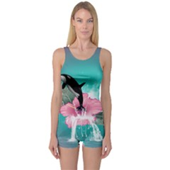 Orca Jumping Out Of A Flower With Waterfalls Women s Boyleg One Piece Swimsuits