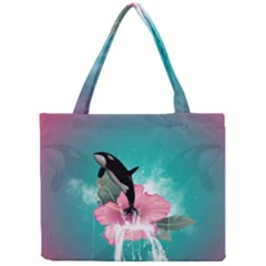 Orca Jumping Out Of A Flower With Waterfalls Tiny Tote Bags