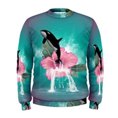Orca Jumping Out Of A Flower With Waterfalls Men s Sweatshirts