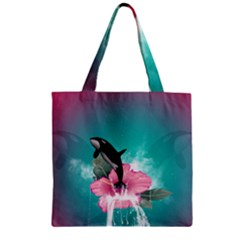 Orca Jumping Out Of A Flower With Waterfalls Zipper Grocery Tote Bags