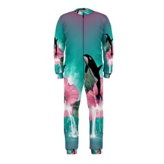 Orca Jumping Out Of A Flower With Waterfalls Onepiece Jumpsuit (kids)
