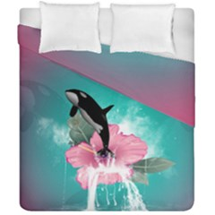 Orca Jumping Out Of A Flower With Waterfalls Duvet Cover (double Size)